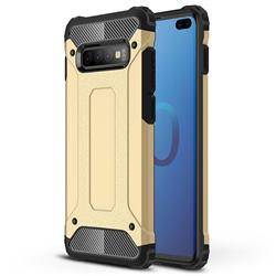 King Kong Armor Premium Shockproof Dual Layer Rugged Hard Cover for Samsung Galaxy S10 Plus(6.4 inch) - Champagne Gold