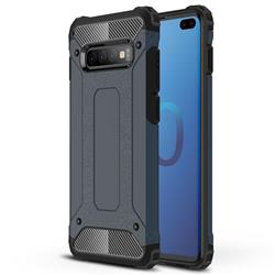 King Kong Armor Premium Shockproof Dual Layer Rugged Hard Cover for Samsung Galaxy S10 Plus(6.4 inch) - Navy