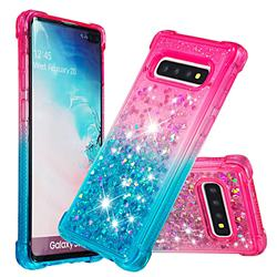 Rainbow Gradient Liquid Glitter Quicksand Sequins Phone Case for Samsung Galaxy S10 Plus(6.4 inch) - Pink Blue