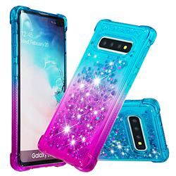 Rainbow Gradient Liquid Glitter Quicksand Sequins Phone Case for Samsung Galaxy S10 Plus(6.4 inch) - Blue Purple