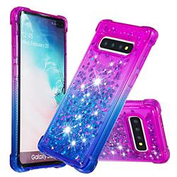 Rainbow Gradient Liquid Glitter Quicksand Sequins Phone Case for Samsung Galaxy S10 Plus(6.4 inch) - Purple Blue