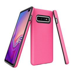 Triangle Texture Shockproof Hybrid Rugged Armor Defender Phone Case for Samsung Galaxy S10 Plus(6.4 inch) - Rose
