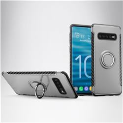 Armor Anti Drop Carbon PC + Silicon Invisible Ring Holder Phone Case for Samsung Galaxy S10 Plus(6.4 inch) - Silver