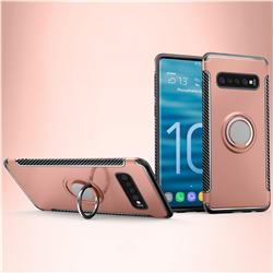 Armor Anti Drop Carbon PC + Silicon Invisible Ring Holder Phone Case for Samsung Galaxy S10 Plus(6.4 inch) - Rose Gold