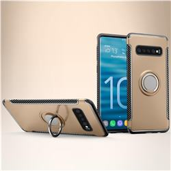 Armor Anti Drop Carbon PC + Silicon Invisible Ring Holder Phone Case for Samsung Galaxy S10 Plus(6.4 inch) - Champagne
