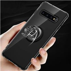 Anti-fall Invisible Press Bounce Ring Holder Phone Cover for Samsung Galaxy S10 Plus(6.4 inch) - Elegant Black