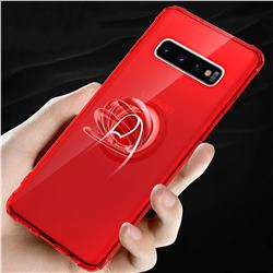 Anti-fall Invisible Press Bounce Ring Holder Phone Cover for Samsung Galaxy S10 Plus(6.4 inch) - Noble Red