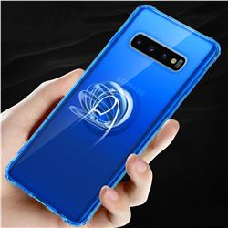 Anti-fall Invisible Press Bounce Ring Holder Phone Cover for Samsung Galaxy S10 Plus(6.4 inch) - Sapphire Blue