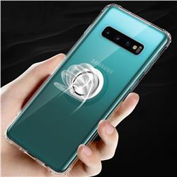 Anti-fall Invisible Press Bounce Ring Holder Phone Cover for Samsung Galaxy S10 Plus(6.4 inch) - Transparent