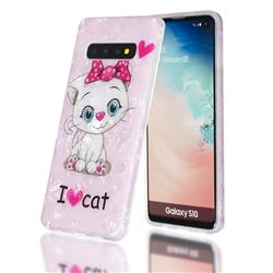I Love Cat Shell Pattern Clear Bumper Glossy Rubber Silicone Phone Case for Samsung Galaxy S10 Plus(6.4 inch)