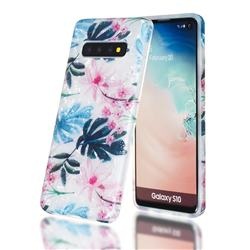 Flowers and Leaves Shell Pattern Clear Bumper Glossy Rubber Silicone Phone Case for Samsung Galaxy S10 Plus(6.4 inch)