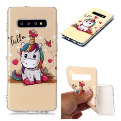 Hello Unicorn Soft TPU Cell Phone Back Cover for Samsung Galaxy S10 Plus(6.4 inch)
