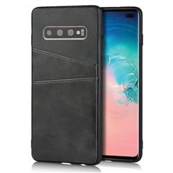 Simple Calf Card Slots Mobile Phone Back Cover for Samsung Galaxy S10 Plus(6.4 inch) - Black