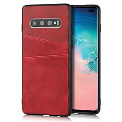 Simple Calf Card Slots Mobile Phone Back Cover for Samsung Galaxy S10 Plus(6.4 inch) - Red