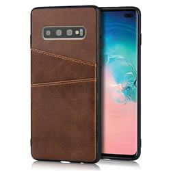 Simple Calf Card Slots Mobile Phone Back Cover for Samsung Galaxy S10 Plus(6.4 inch) - Coffee