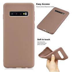 Soft Matte Silicone Phone Cover for Samsung Galaxy S10 Plus(6.4 inch) - Khaki