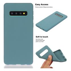 Soft Matte Silicone Phone Cover for Samsung Galaxy S10 Plus(6.4 inch) - Lake Blue