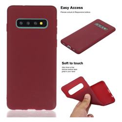 Soft Matte Silicone Phone Cover for Samsung Galaxy S10 Plus(6.4 inch) - Wine Red