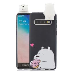 Big White Bear Soft 3D Climbing Doll Stand Soft Case for Samsung Galaxy S10 Plus(6.4 inch)
