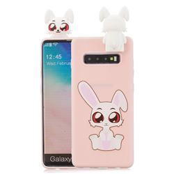 Cute Rabbit Soft 3D Climbing Doll Stand Soft Case for Samsung Galaxy S10 Plus(6.4 inch)