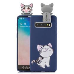 Grinning Cat Soft 3D Climbing Doll Stand Soft Case for Samsung Galaxy S10 Plus(6.4 inch)