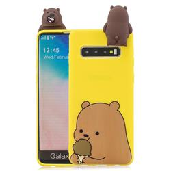 Brown Bear Soft 3D Climbing Doll Stand Soft Case for Samsung Galaxy S10 Plus(6.4 inch)
