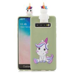 Cute Unicorn Soft 3D Climbing Doll Stand Soft Case for Samsung Galaxy S10 Plus(6.4 inch)