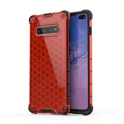 Honeycomb TPU + PC Hybrid Armor Shockproof Case Cover for Samsung Galaxy S10 Plus(6.4 inch) - Red
