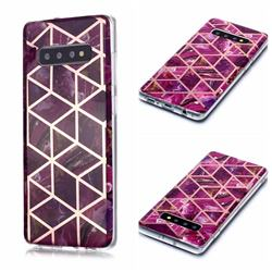 Purple Rhombus Galvanized Rose Gold Marble Phone Back Cover for Samsung Galaxy S10 Plus(6.4 inch)