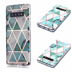 Green White Galvanized Rose Gold Marble Phone Back Cover for Samsung Galaxy S10 Plus(6.4 inch)