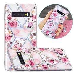 Rose Flower Painted Galvanized Electroplating Soft Phone Case Cover for Samsung Galaxy S10 Plus(6.4 inch)