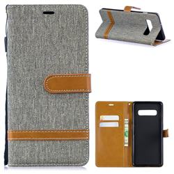 Jeans Cowboy Denim Leather Wallet Case for Samsung Galaxy S10 Plus(6.4 inch) - Gray
