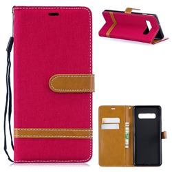 Jeans Cowboy Denim Leather Wallet Case for Samsung Galaxy S10 Plus(6.4 inch) - Red