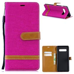 Jeans Cowboy Denim Leather Wallet Case for Samsung Galaxy S10 Plus(6.4 inch) - Rose
