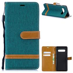 Jeans Cowboy Denim Leather Wallet Case for Samsung Galaxy S10 Plus(6.4 inch) - Green
