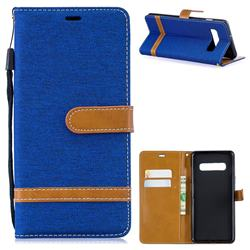 Jeans Cowboy Denim Leather Wallet Case for Samsung Galaxy S10 Plus(6.4 inch) - Sapphire