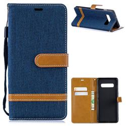 Jeans Cowboy Denim Leather Wallet Case for Samsung Galaxy S10 Plus(6.4 inch) - Dark Blue