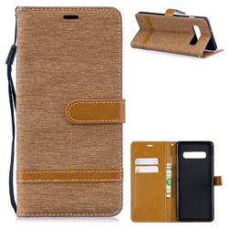 Jeans Cowboy Denim Leather Wallet Case for Samsung Galaxy S10 Plus(6.4 inch) - Brown