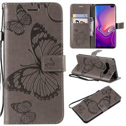 Embossing 3D Butterfly Leather Wallet Case for Samsung Galaxy S10 Plus(6.4 inch) - Gray