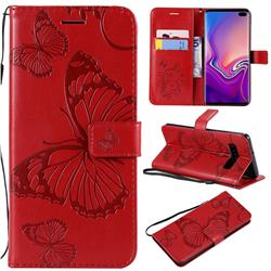 Embossing 3D Butterfly Leather Wallet Case for Samsung Galaxy S10 Plus(6.4 inch) - Red