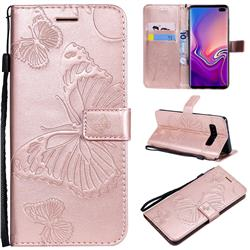 Embossing 3D Butterfly Leather Wallet Case for Samsung Galaxy S10 Plus(6.4 inch) - Rose Gold