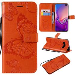 Embossing 3D Butterfly Leather Wallet Case for Samsung Galaxy S10 Plus(6.4 inch) - Orange