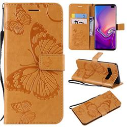 Embossing 3D Butterfly Leather Wallet Case for Samsung Galaxy S10 Plus(6.4 inch) - Yellow