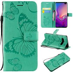 Embossing 3D Butterfly Leather Wallet Case for Samsung Galaxy S10 Plus(6.4 inch) - Green