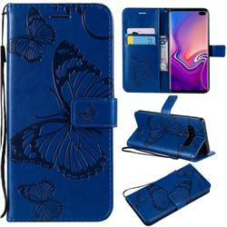 Embossing 3D Butterfly Leather Wallet Case for Samsung Galaxy S10 Plus(6.4 inch) - Blue