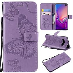 Embossing 3D Butterfly Leather Wallet Case for Samsung Galaxy S10 Plus(6.4 inch) - Purple
