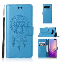 Intricate Embossing Owl Campanula Leather Wallet Case for Samsung Galaxy S10 Plus(6.4 inch) - Blue
