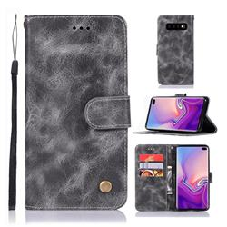 Luxury Retro Leather Wallet Case for Samsung Galaxy S10 Plus(6.4 inch) - Gray