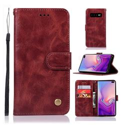 Luxury Retro Leather Wallet Case for Samsung Galaxy S10 Plus(6.4 inch) - Wine Red
