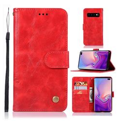 Luxury Retro Leather Wallet Case for Samsung Galaxy S10 Plus(6.4 inch) - Red
